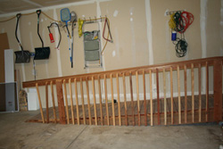 Wooden ramp inside a home garage
