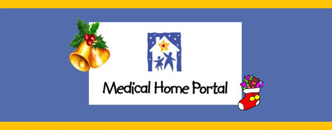 medical home portal logo with stocking and bells with holly around it