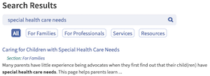 search results for special health care needs